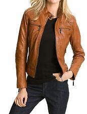 Women's Tan Brown Genuine Lambskin Leather Motorcycle Slim fit Biker Jacket