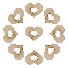 100x Mini Blank Hollow Wooden Heart Embellishments Crafts Wedding Decor 10mm