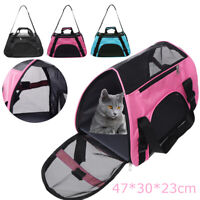 Travel Carrier Tote Cage Bag Pet Dog Cat Rabbit Portable Mesh Crate Kennel  UK