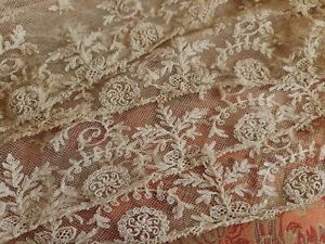 WoW! Wide French Antique Lace point tulle curtain 4+ yards Embroidered Tambour