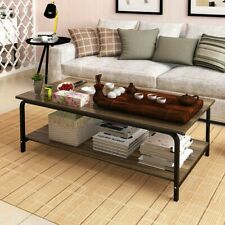 2-Tier Cocktail Coffee Table Living Room Furniture Metal Frame W/ Storage Shelf