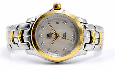 LADIES TAG HEUER LINK WJF1353 FACTORY DIAMOND DIAL WRIST WATCH 18K & STAINLESS
