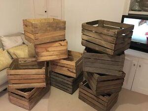 Vintage Wooden Apple/Fruit Crate, Rustic Old Bushel Box, Shabby Chic Storage