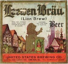 Tough 1930s Illinois Loewen Brau Beer US Brewery Tavern Trove Chicago IRTP