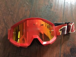 100 Percent Mens Goggles Moto - Attack Red~ Mirror Red Lens Pre Owned