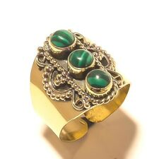 Malachite Tibetan Silver Brass Handmade Gemstone Ring Jewelry