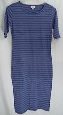LuLaRoe Julia Dress in XXS in Heathered Blue with Blue Stripes  NWT