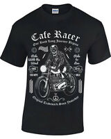 Biker Skull T-Shirt Mens Womens motorcycle bike rider Cafe Racer