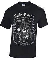 Biker Skull T-Shirt Mens Womens motorcycle bike rider Cafe Racer