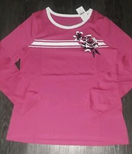 Girls justice long sleeve tee size 10 new hot pink striped w/graphics