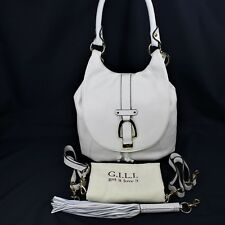 G.I.L.I Leather Convertible Backpack Purse Winter White New GILI