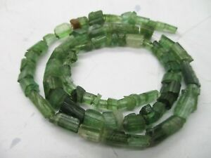 "WoW  16"" Drilled crystalised Teal Tourmaline crystal Beads - T87"