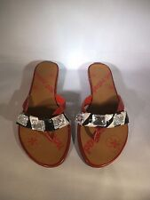 NEW LADIES NOT RATED 9 M ZEBRA / RED SANDALS W/ RHINESTONES CRYSTALS FLIP FLOPS