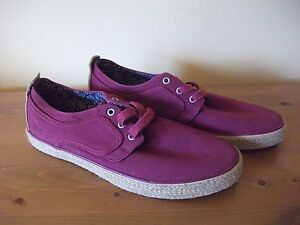 Mens TBS Burgundy CANVAS Lace Up Casual SHOE Size UK 7 EUR 41 New!