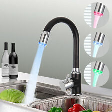 LED Kitchen Room Sink Water Tap Deck Mounted 3Changing Color Finish Faucet Mixer