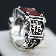 Vintage 925 Silver Natural 3.7CT Ruby Cross Ring Women Men Wedding Size 10