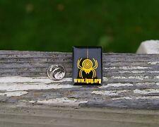 """Yellow Spider Dangling Target Logo """"igug.org"""" Metal Pin Pinback Black Fangs"""