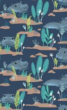 Blend Fabrics, Congo hippos , navy hippo fabric by the FQ+