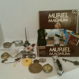 Junk Lot Box Of Men's knives,watches,oil can,lighters, tire gauge, misc. items.