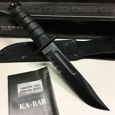 KNIFE COLTELLO KA-BAR FILO COMBINATO **ORIGINALE 100% MADE IN USA** FODERO CUOIO