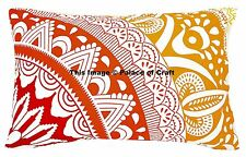 Ombre Mandala Hand Printed Indian Bed Cushion Cover Ethnic Pillow Sham Hippie