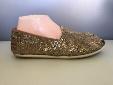 Toms Shoes Gold Glitter Slip On Flats Shoes Womens 9.5