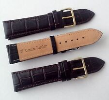 Black Brown CROCO PADDED Genuine Leather Watch Strap Band and Buckle Mens Ladies