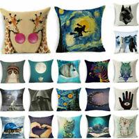 Giraffe Linen Pillowcase Throw Pillow Cover Sofa Cushion Cover Home Decor