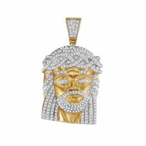 10k Gelbgold Herren Rund Diamant Jesus Christus Messias Charm Anhänger 1.00 Cttw