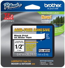 "Brother TZeAF231 1/2"" (12mm) Acid Free Adhesive P-touch Tape PT1290, PT-1290"