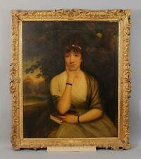 19thC Antique American Portrait Oil Painting, Beautiful Woman Carved Gilt Frame
