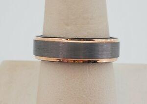 Men's Brand New Grey Tungsten & 18k Rose Gold Wedding Band Ring Sz 9.5 Brushed