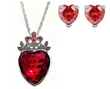 "Disney Descendants Evie Red Heart Pendant Necklace & Mini 1/4"" Stud Earrings"