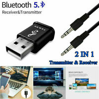 2in1 Bluetooth 5.0 Audio Transmitter Receiver USB Adapter For TV Car Speaker PC