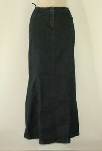 Blue Black Denim COMMA Zip Long Flare Casual Women's Skirt Size 10 / 38 L 37