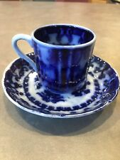 ANTIQUE FLOW BLUE CUP and SAUCER  P Regout Maastright Scalloped Edges Stoneware
