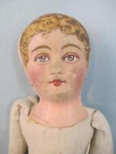 "Antique 12"" Cloth Rag Doll BRUCKNER Stiffened Mask Face Dated July 8, 1901"