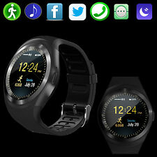 "Android Bluetooth Smart Watch SIM GSM Card Round 1.22"" LCD Screen for IOS Apple"