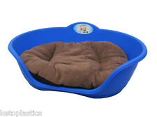 Heavy Duty BLUE  Pet Bed With BROWN Cushion UK MADE Dog Or Cat Basket