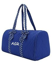 Personalized Monogrammed Large Quilted Duffel Bag Dance Cheer Royal Blue & White