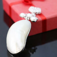High Quanlity Genuine Royal Shell White Pearl Gems Solid Silver Necklace Pendant