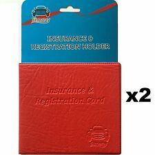 "2 Red CAR INSURANCE REGISTRATION HOLDER WALLET 5.25""x4.6"" Embossed Faux-Leather"