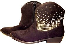 NEW Mossimo Studded Western Ankle Boots Faux suede shoes Black brown beige