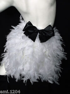 FEATHER BUSTLE WITH BOW. BURLESQUE, SHOW GIRL. WHITE