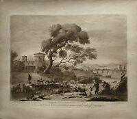 RICHARD EARLOM (1743-1822)  PONTE ROTTO ROMA - 1775 MEZZOTINTO