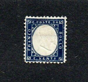 ITALY. 1862. VICTOR EMMANUEL II 20c INDIGO GIBBONS no 2a. M.H. cat £27+