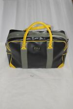 Paul Smith Faux Leather Black Yellow Large Zip Holdall Travel Gym Weekend Bag
