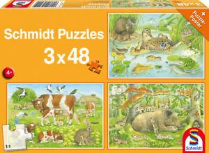 Schmidt Spiele 56222 Puzzle 3x48 Teile Tierfamilien 26.30 x 17.80 cm ab 4 Jahren
