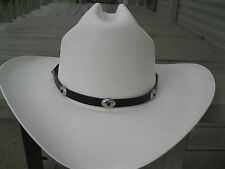 Western Hat Band #929 - Leather - Black w Silver & Onyx Colored Conchos