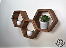 3x Personalised Chunky Floating Shelves Wooden Rustic Hexagon Shelves